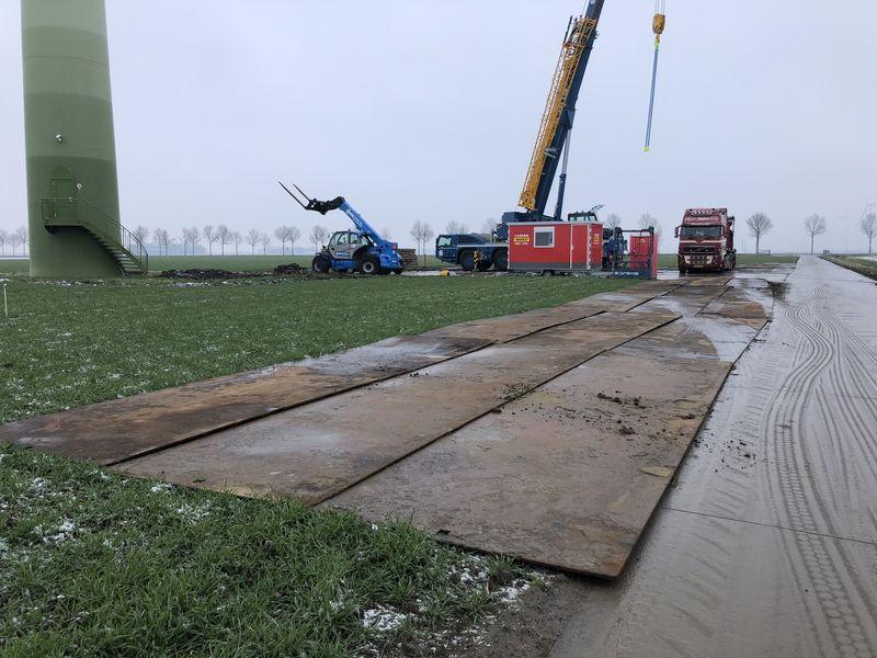 1 februari 2019; Start voorbereiding opbouw grote kraan