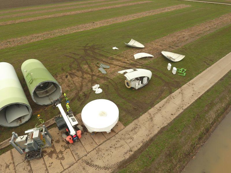 1 maart 2019; windmolen 4 transport klaar maken