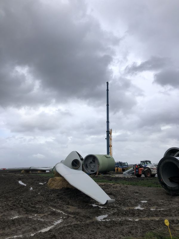 8 maart 2019; Windmolen 5 gedemonteerd