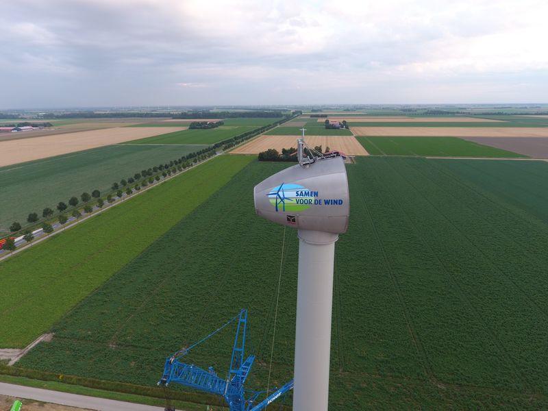 6 augustus 2019; opbouw windmolen 1