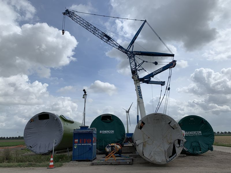 10 augustus 2019; opbouw kraan windmolen 2