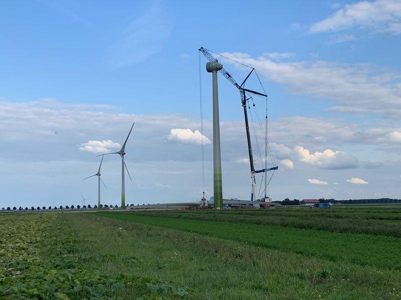 10 september 2019; windmolen 3 opgebouwd